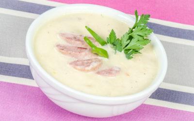 Zupa chrzanowa z białą kiełbasą